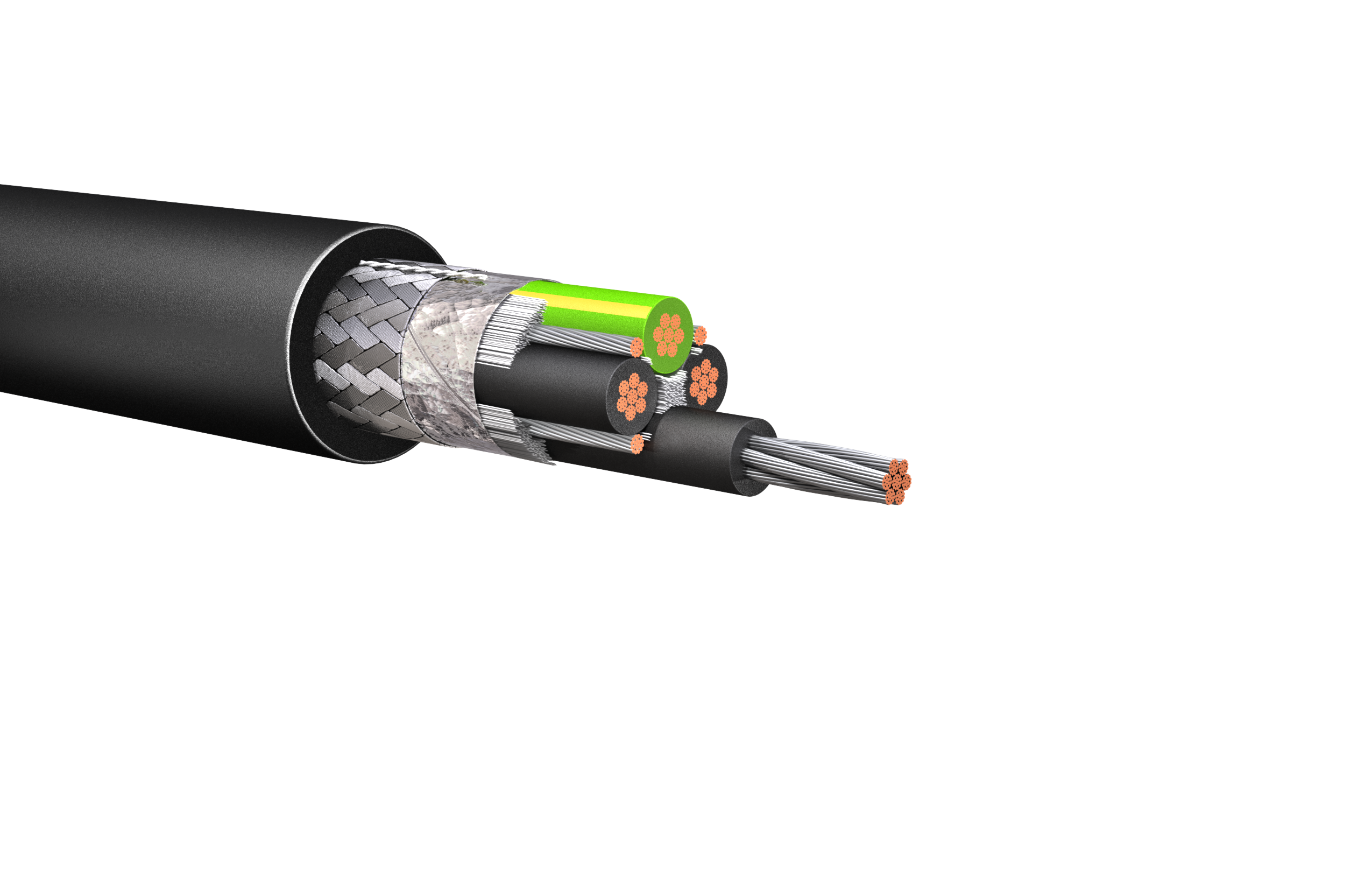 HW190B: 600V/1kV Foil & Braid Shielded Cable, Full Size Ground