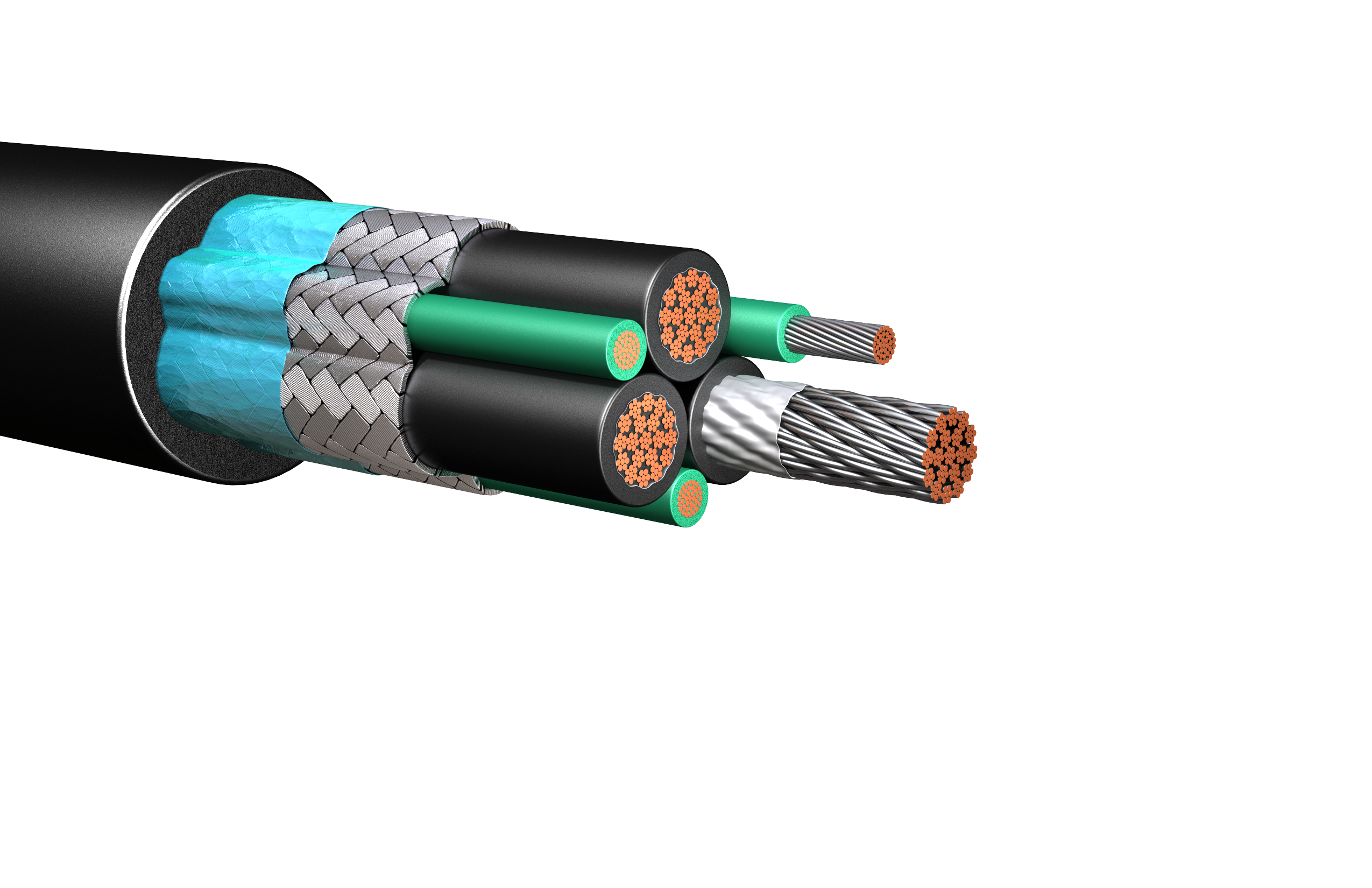 HW285: 2kV Foil & Braid Shielded Unarmored Cable, 3 Symm Grounds